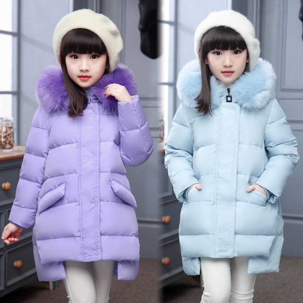 Hooded Long Zipper Children Down Jacket Solid Asymmetrical Hem Winter Jackets For Girls Thick Warm Duck Down Kids Outerwears