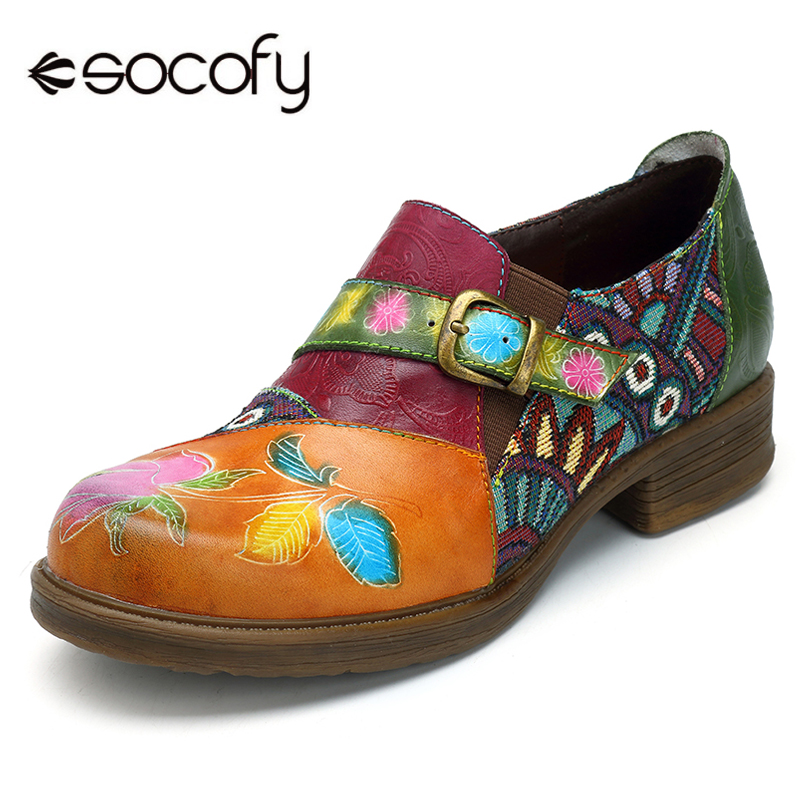 Socofy Vintage Flat Shoes Women 2018 Genuine Leather Bohemian Jacquard Patchwork Zipper Flats Retro Casual Ladies Shoes Woman