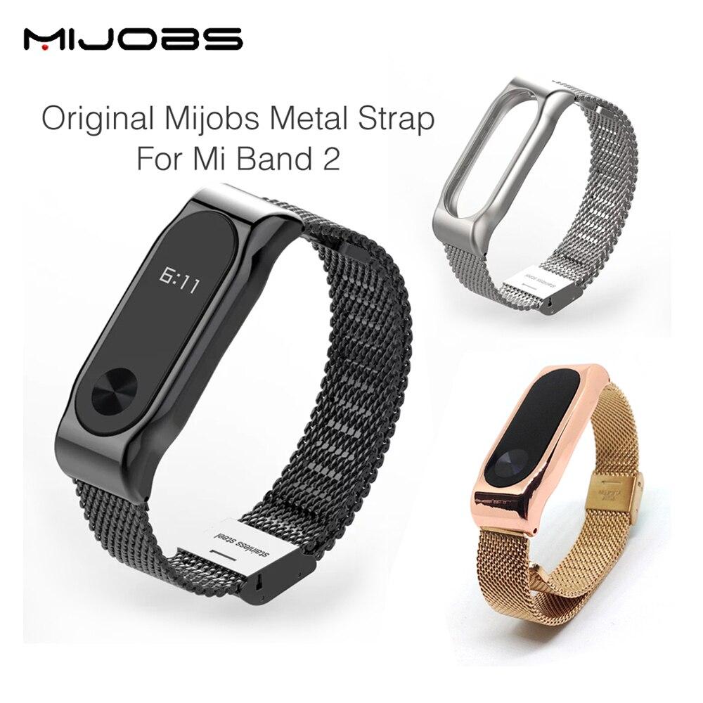 Originale Mijobs Metallo Strap Band MiBand 2 Braccialetti In Acciaio Inox braccialetto Per Xiaomi Mi Band 2 Sostituire Per Mi Band 2