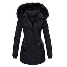 цена на Winter Jacket Women Plus Size 2019 Black Warm Parka Thick Outwear Cotton Long Coat Hooded Faux Fur Collar Female Casual Overcoat