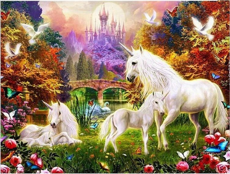 Free Shiping 3d Diy Diamond Painting Rhinestones Set Embroidery Resin Craft Horse Unicorn Families Myth Magic Auspicious B057