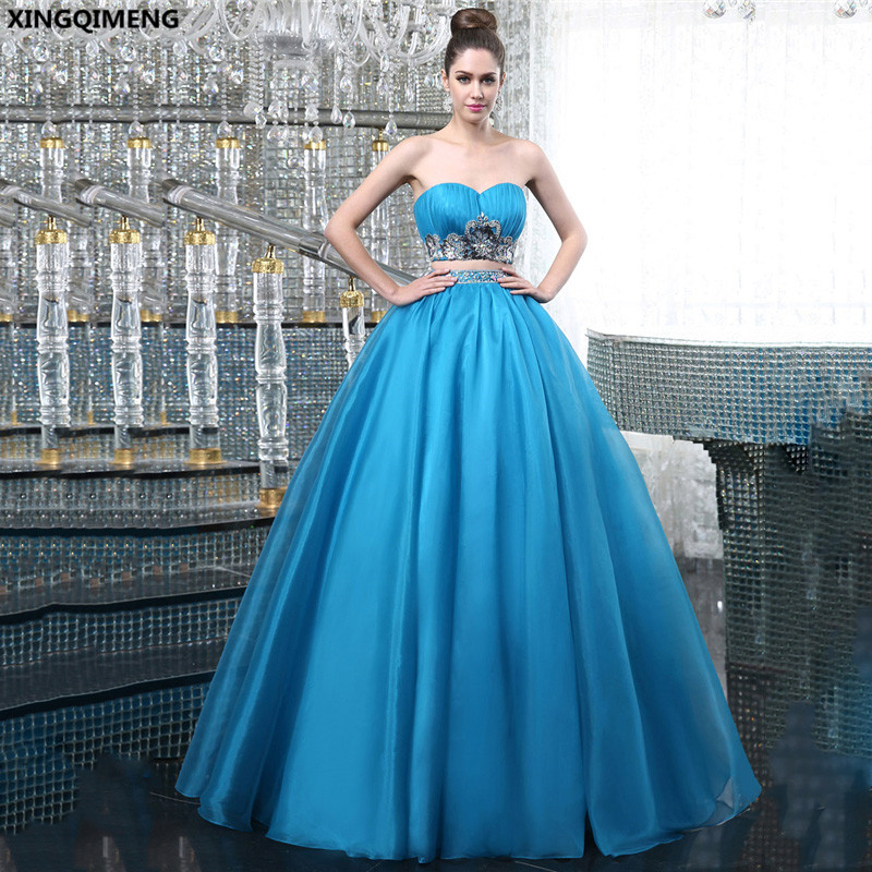 Light Blue 2 Piece Prom Dresses Crystals Sweet 16 Dresses Beaded