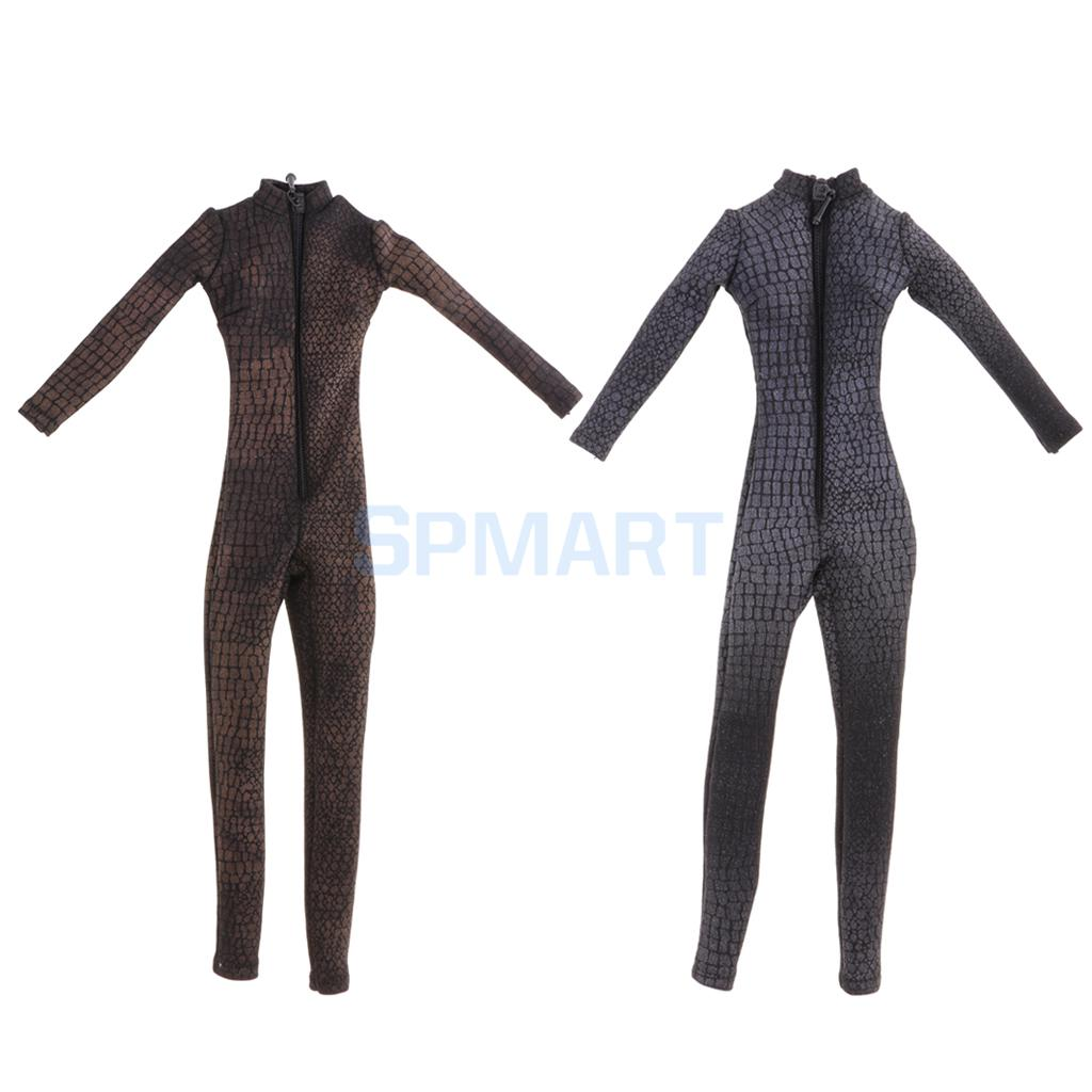 1/6 Scale Tight-fitting Zippered Body Suit Catsuit Jumpsuit for 12'' Hot Toys ZY Toys Female Action Figures