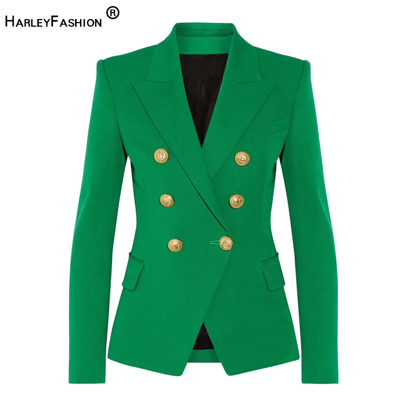 HarleyFashion Classic Design Women Elegant Style Casual Blazers Solid Color Slim Autumn Green Blazer High Quality Plus Size