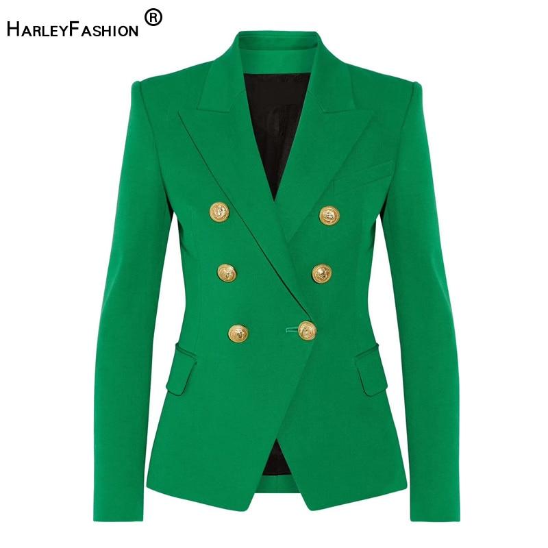 HarleyFashion Classic Design Women Elegant Style Casual Blazers Solid Color Slim Autumn Green Blazer High Quality Plus Size