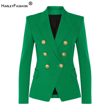 HarleyFashion Classic Design Women Elegant Style Casual Blazers Solid Color Slim Autumn Green Blazer High Quality Plus Size casual women s satchel with zips and solid color design