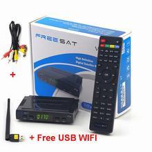 20pcs Freesat V7 & USB WiFi & AV Cable DVB-S2 Satellite TV Receiver Support PowerVu Biss Key Newcamd Youtube Youporn+USB WiFi