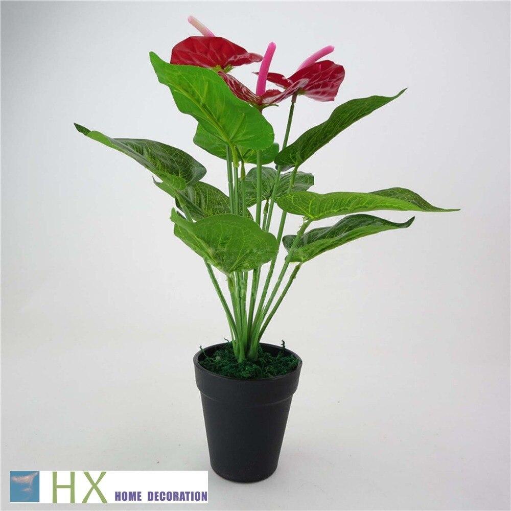 Free Shipping 12 Leaves Pcs 2pcs Lot Anthurium Plants Artificial Tree