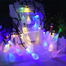 Solar Powered 30 LEDS Water Drop Light String Garden waterproof Christmas Party Decoration Lamp Outdoor Indoor Lamps(China)