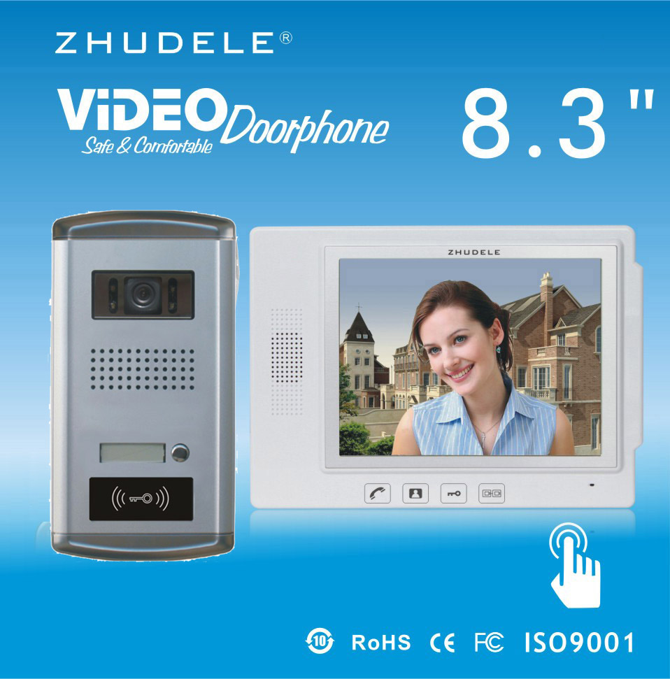 ZHUDELE Top Quality 8.3Video Door Phone Touch Key Doorbell&IR HD Home Security CCD Camera w/t ID Card unlocking 1V1 Intercom