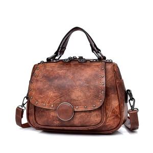 Image 2 - Nouvelle mode en cuir femmes sac à main bureau dames épaule sacs à bandoulière à la main en peau de mouton en cuir messager sacoche sacs Rivet