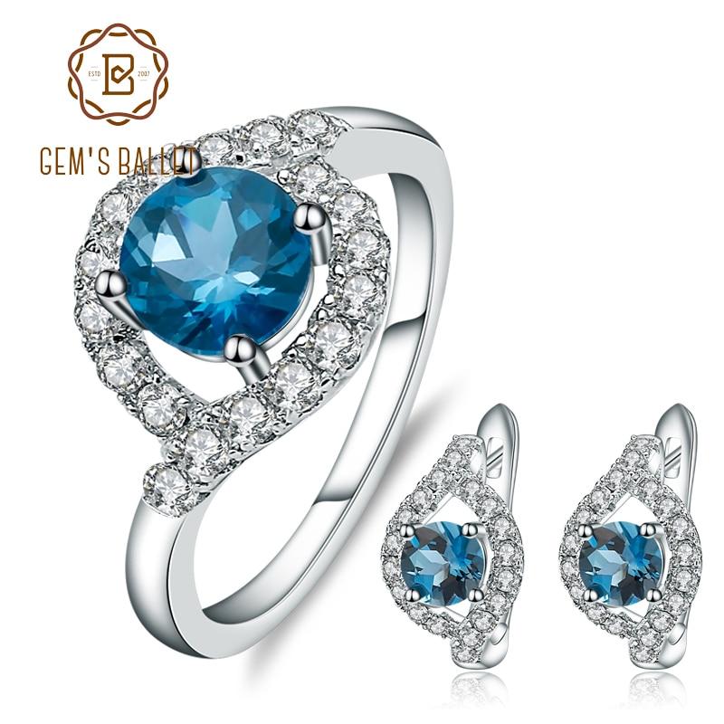 GEM'S BALLET Natural London Blue Topaz Gemstone Rings Clip Earrings Genuine 925 Sterling Silver Fine Jewelry Set For Women Gift