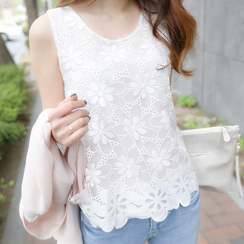 Summer 6xl White Lace Chiffon Blouse Women Floral Crochet Shirt Sleeveless Plus Size Woman Tops Casual Blouses Femme Blusas 2019