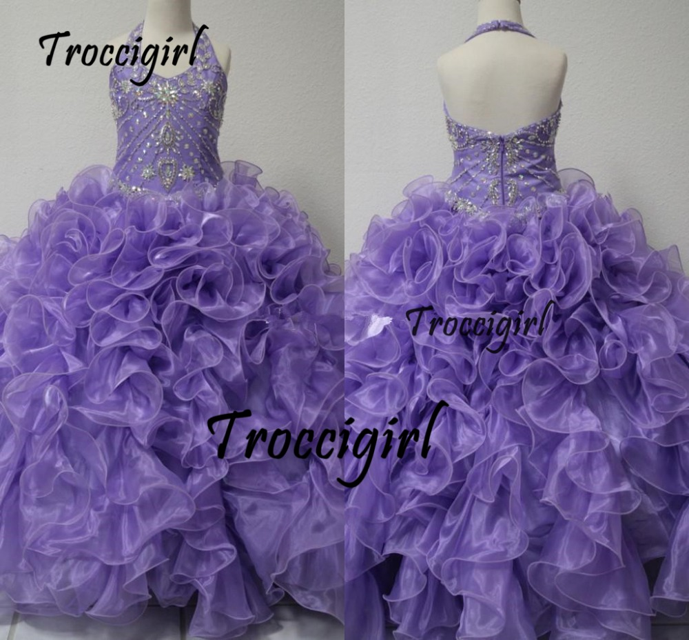 49-1 Real Picture Little Girl's Pageant Dresses Glitz 2015 Toddler Halter Crystals Purple Long Baby Flower Dress For Girls Kids Party Ball Gowns