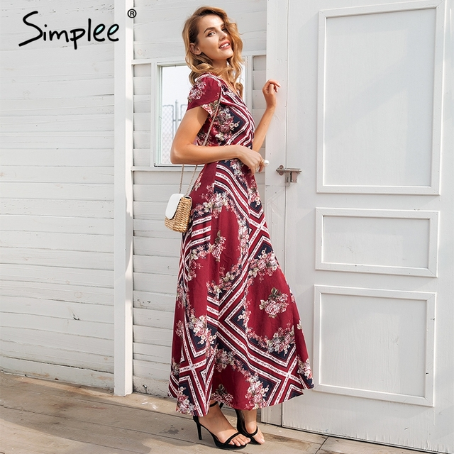 Boho Fit and Flare Wrap Summer Dress