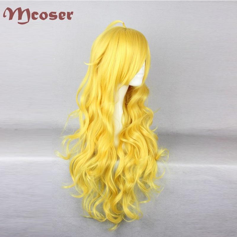 Gratis frakt 80cm lång RWBY Yang Xiao Long Yellow Cosplay - Syntetiskt hår - Foto 2
