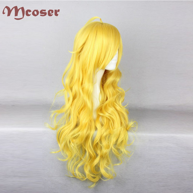 80CM Long Wavy Synthetic Yellow Color Cosplay Wig