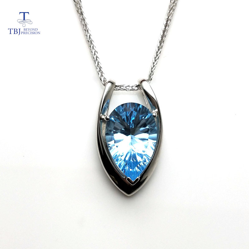 TBJ V shape pendant in 925 sterling silver with nautral SKY BLUE topaz concave cut with