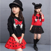 New Spring Autumn Baby Girl Clothes Girls Clothing Sets Cartoon Long Sleeve + Skirt Casual 2 Piece Girls Princess Suit new 2015 baby girls skirt clothing sets children autumn fashion long sleeve jean shirt leopard skirt outfits 2pcs suit