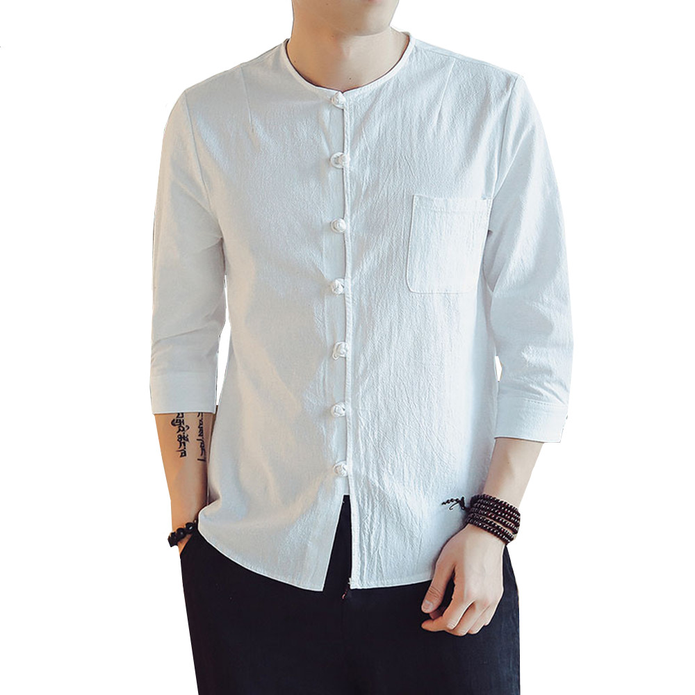 56d2d96970e7 Detail Feedback Questions about Summer Men s Cotton Linen Casual Cropped sleeve  shirt Chinese Style Clothes Wind Solid color round neck Buckle Tang Suit ...