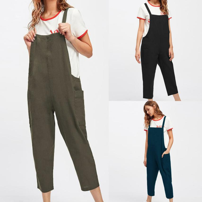 2018 summer womens romper dungarees loose cotton pockets