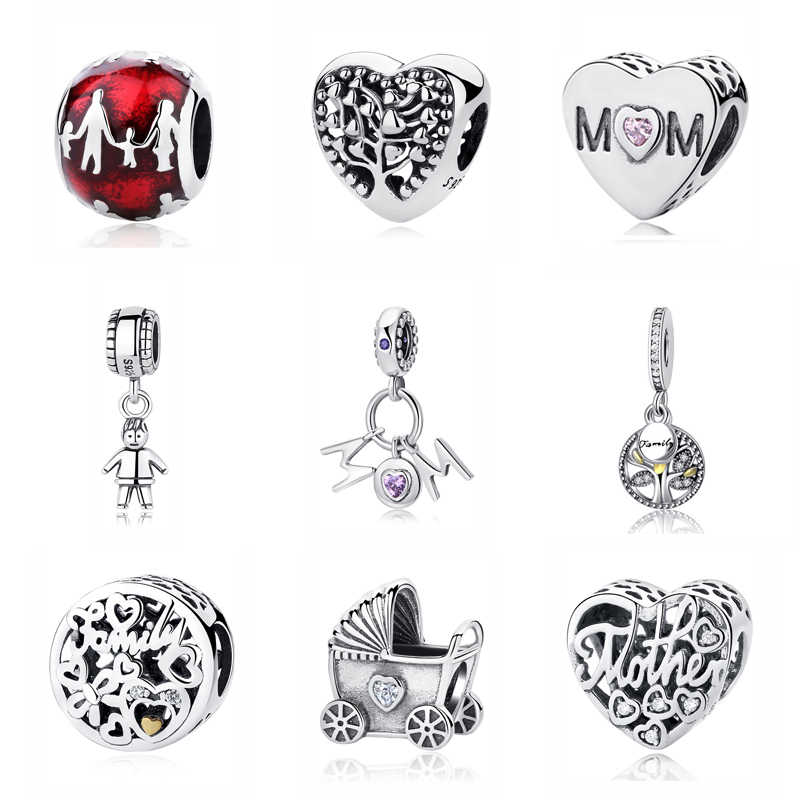 8ea366734 Original 925 Sterling Silver Bead Charm Family Heritage Baby Mother Love  Home Charms Fit Pandora Bracelets