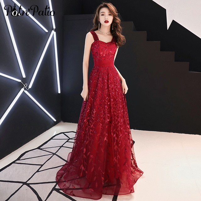 2019  Summer Leaves Sequined Red Prom Dresses Long Plus Size Sweetheart Off The Shoulder Gown Dresses Sexy Backless Gala Dress