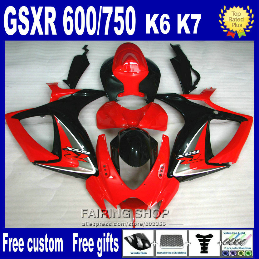 ABS plastic fairing for suzuki injection gsxr 600 750 2006 2007 red black gsxr600 gsxr750 06 07 fairings nv20 new motorcycle ram air intake tube duct for suzuki gsxr600 gsxr750 2006 2007 k6 abs plastic black