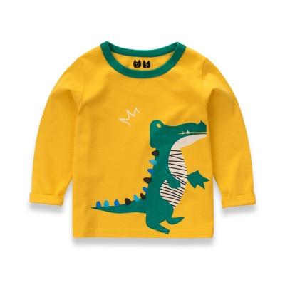 kids dinosaur t-shirts boy long sleeve top tee boys sweatshirt cotton t shirt for boys cartoon outwear Boys Clothes 2-8Y