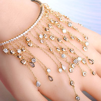 Dazz Long Pendant Tassel Bracelets Full Rhinestones Copper Hand Accessories Wedding Jewelry For Women Bridals Lovers Gifts