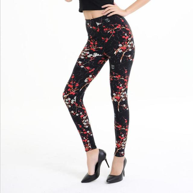 3aa1413a3923 New 2019 Print Flower Leggings Leggins Plus Size Legins Guitar Plaid Thin  Nine Pants Fashion Women Clothing Aptitud Trousers