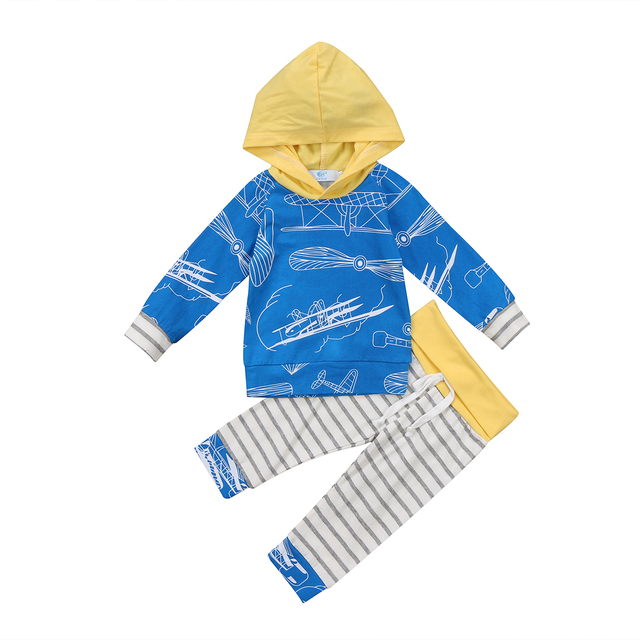 313aaa57d Blue Propeller Funny Newborn Baby Infant Hooded T Shirt Tops Stripe ...