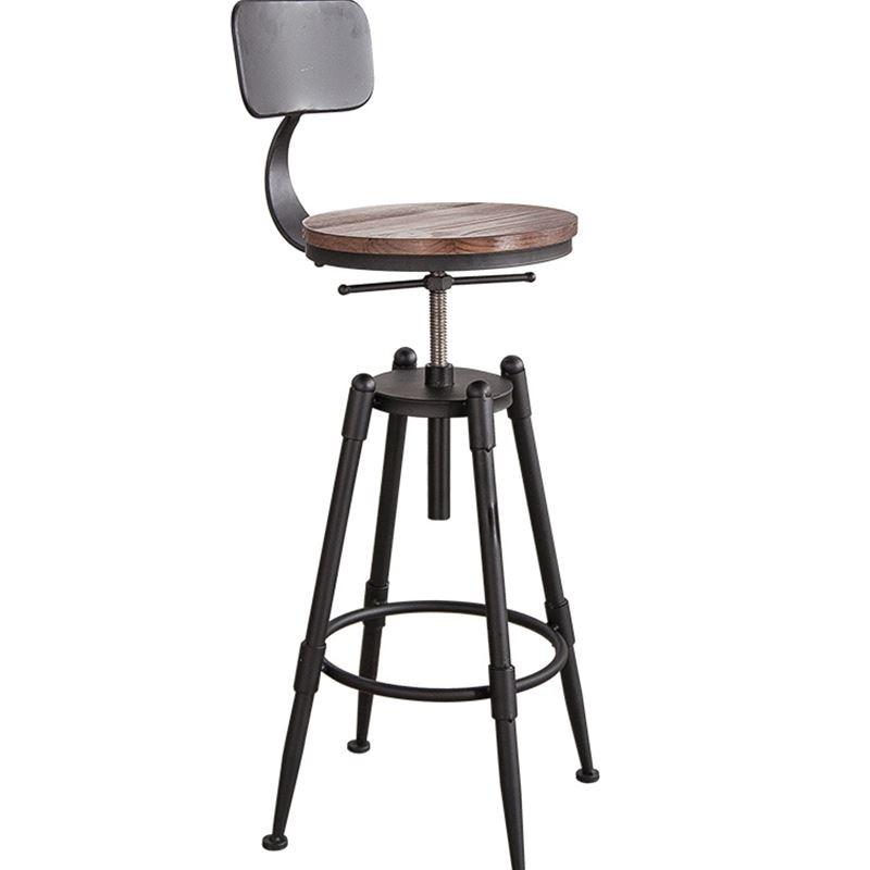 Luxury High Bar stool Backrest High chair Beauty chair European front Rotating lift bar Barber stool Round Beautiful - Beautiful metal bar stools Photo
