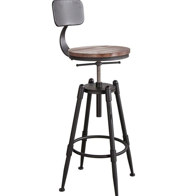 High Bar Stool Backrest High Chair Beauty Chair European Front Rotating  Lift Bar Barber Stool Round