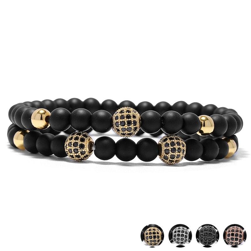 2PCS Black Strass Stone Crystal Ball Metal Beads Bracelets Set 3 Rhinestone Balls Mens Bracelet Sets Pulseira Masculina