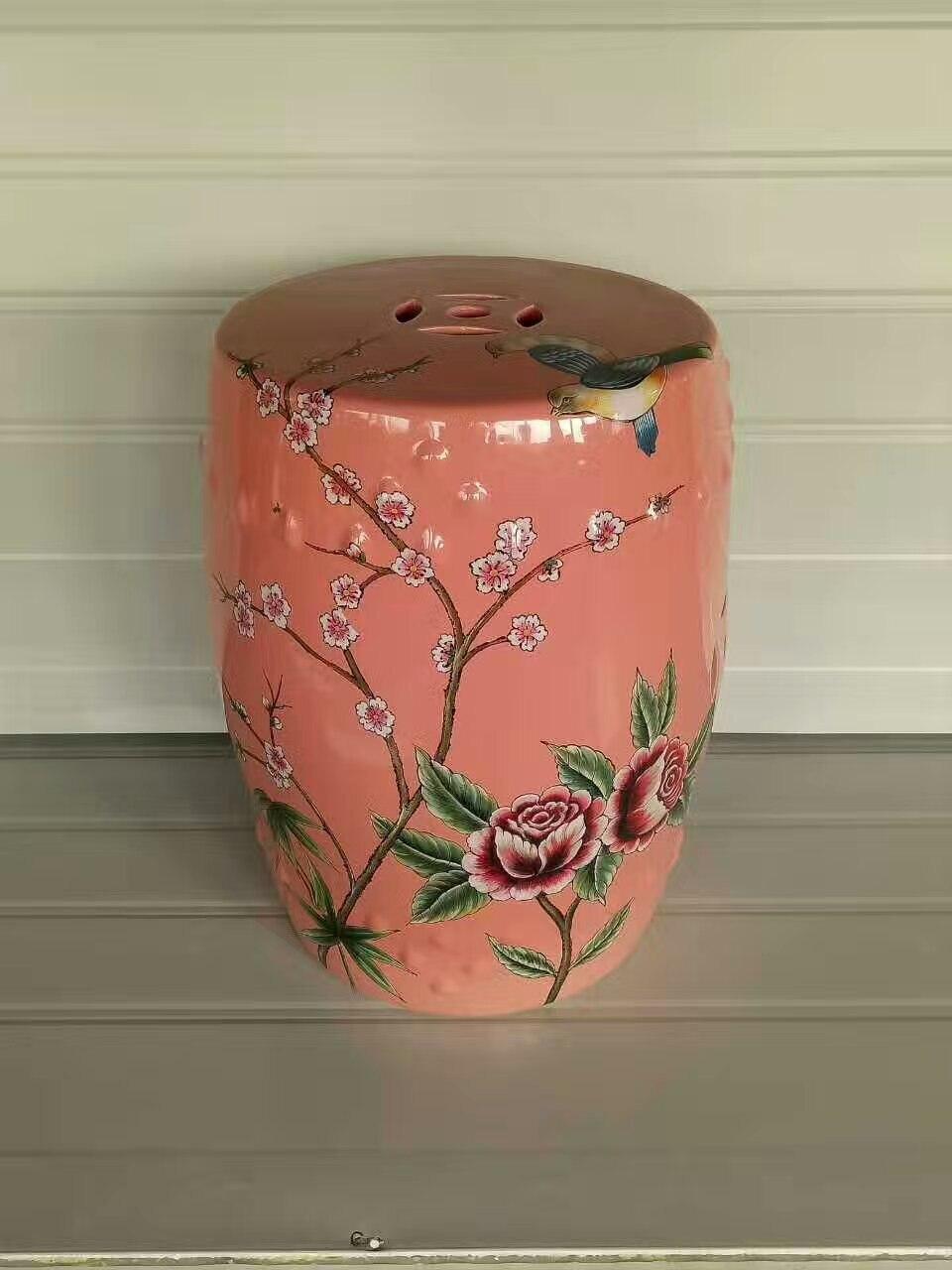 Elegant Jindezhen Dressing Ceramic Garden Stool Chinese Ceramic Drum Stool  Bathroom Porcelain Dresser Pink Stool
