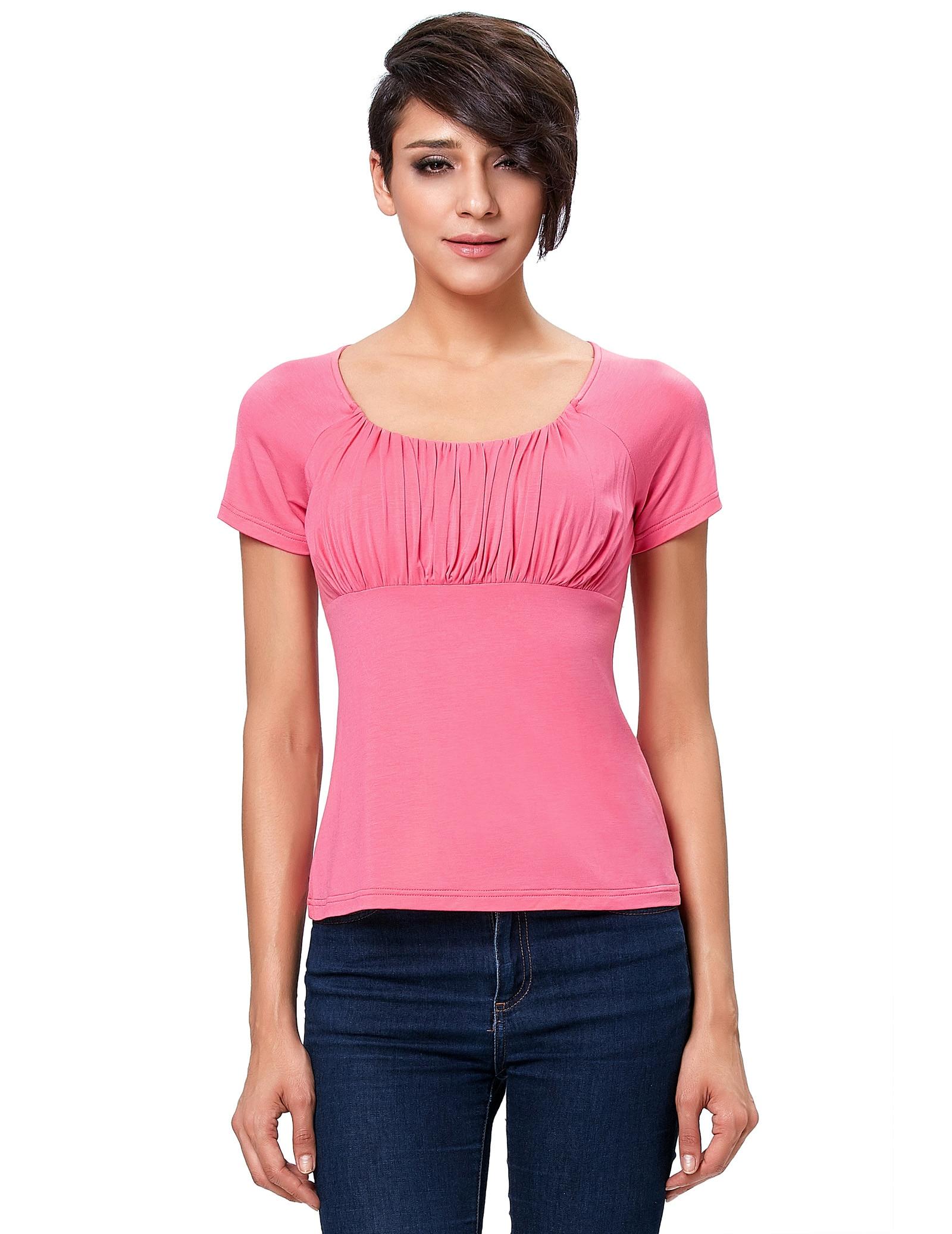 stock pink Women blouse elegant wrap chest slim body shirt Short Sleeve Scoop Neck Empire Waist Raglan cotton blouse Top