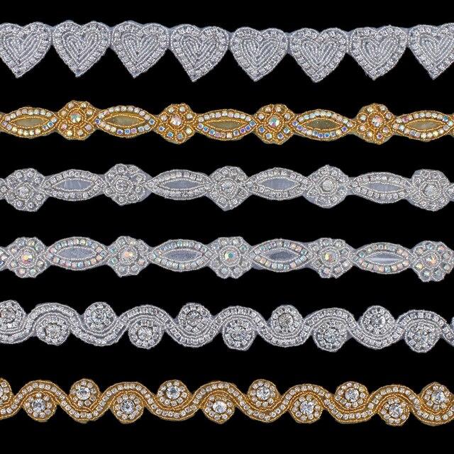 1Yard Fashion Bridal Costume Beaded Dress Trimming Decoration Bling Sew On Base  Crystal Rhinestone Applique Trim Accessories 7ff6bdfb3396
