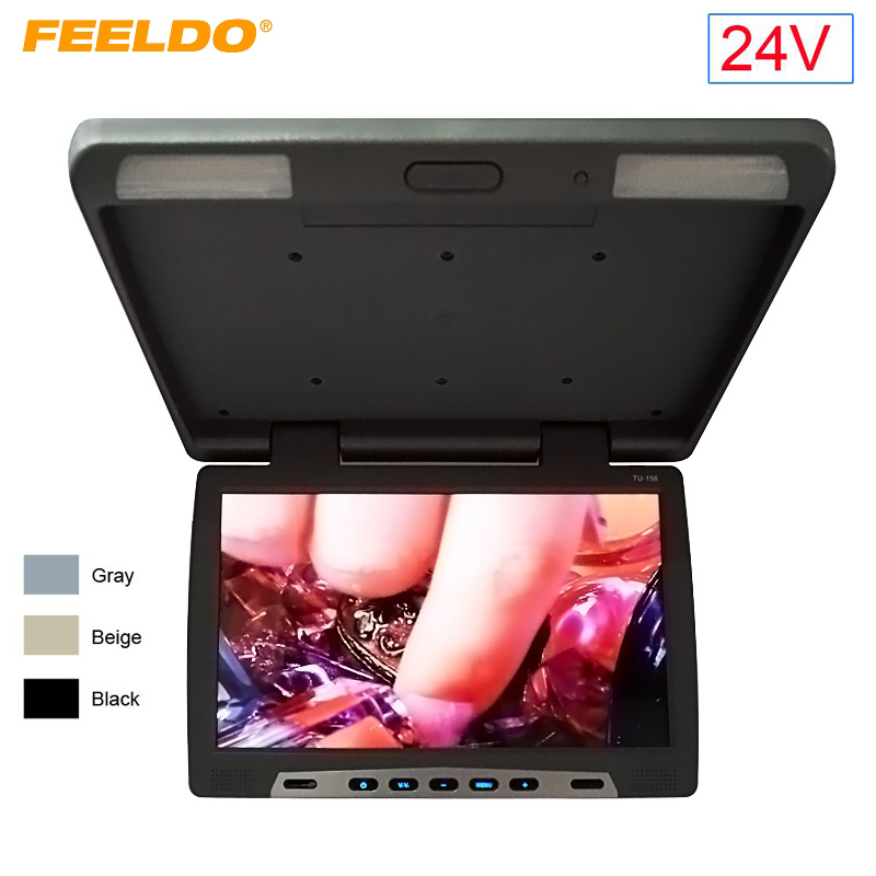 FEELDO DC24V Car Bus 15.6 inch Roof Mounted LCD Monitor Flip Down LCD Monitor for Car DVD with IR Transmitt 3-Color #FD-1292 цена и фото