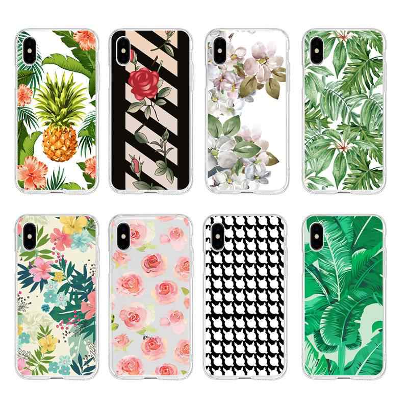 Soft Clear TPU Telefoon Case Bloem Leaf Rose pineappl epetunia Voor iPhone 6 6 S Plus 7 7 Plus 8 plus iPhone X 5 s 4 s C041