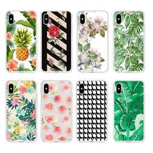 Lembut Bening TPU Phone Case Bunga Daun Mawar Pineappl Epetunia untuk iPhone 6 6 S Plus 7 7 Plus 8 plus iPhone X 5 S 4 S C041(China)