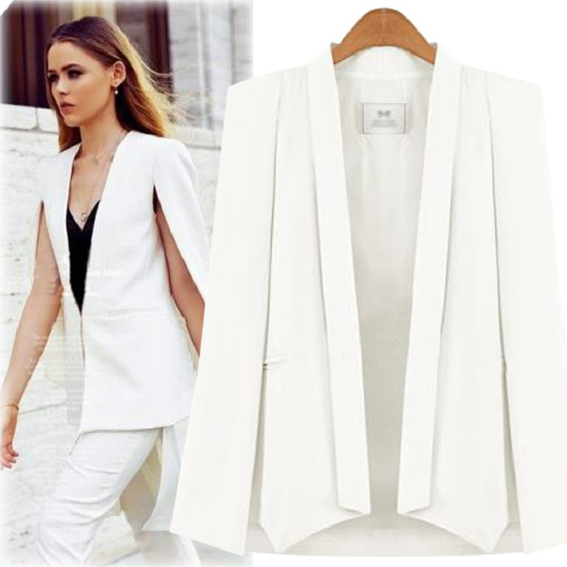 Vintage Shawl Collar Split Sleeve Cloak Blazer Cape  New Women's Autumn Solid Color OL Suit Jacket Coat Black , White
