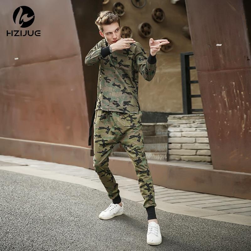 2018 Hzijue Kanye High Quality Mens Boden Lange Hosen Camo Tarnung Hip Hop Hosen Beute Jogginghose Marke Kleidung Starke Verpackung