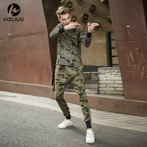2018 HZIJUE KANYE high quality mens bottom long pants camo camouflage hip hop trousers swag sweatpants brand clothing