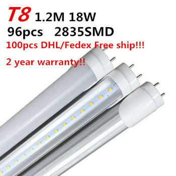 LED Tube Light T8 1200mm 1.2m 4Ft Fluorescent Tube 85-265V AC Warm/Cold White 100pcs Free DHL/Fedex t8 led tube 1200mm light 18w120cm 4ft 1 2m g13 with holder fixture high power smd2835 fluorescent replacement 85 265v