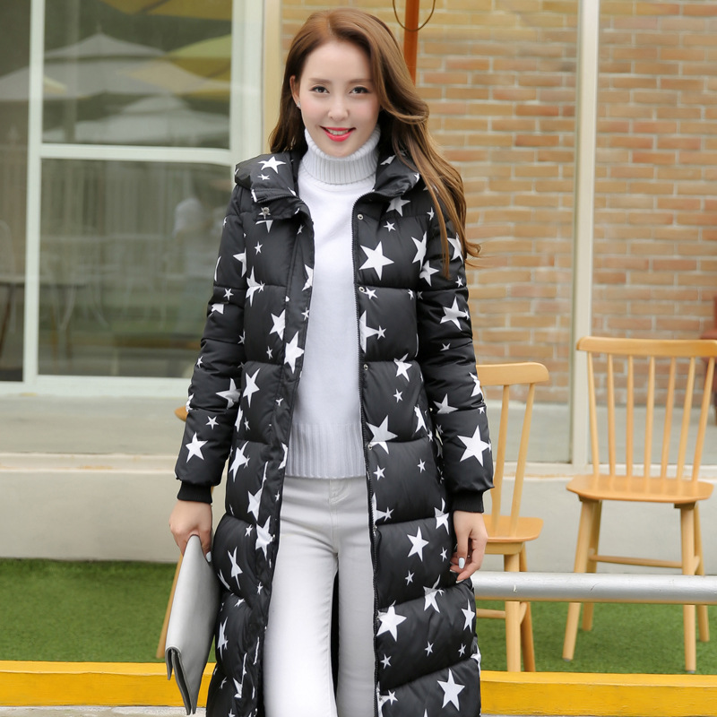 2016 Women Star Pattern Printed Winter Coat Wadded Jacket X long Hooded Plus Size 3xl Parka