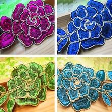 Fantasia Flor Rendas Appliqued 3D Cristal Bordado Motif Flor de Diamante de Cristal Diy Lace Trims Costura Fita Trança 6cm