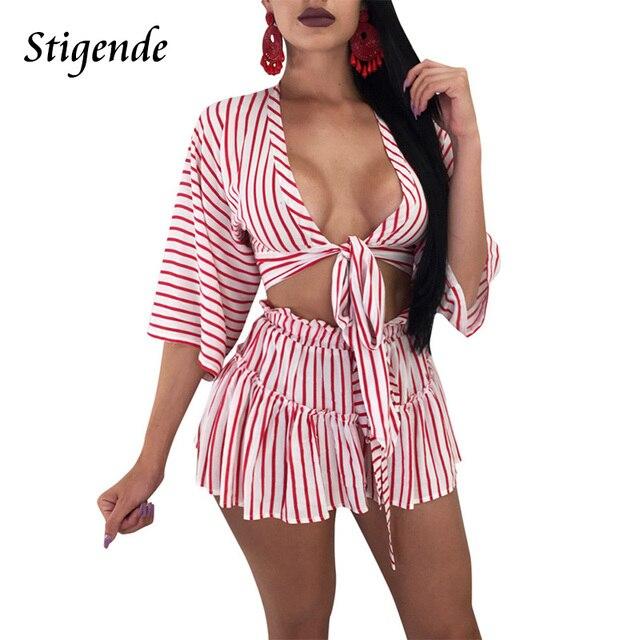 Stigende Sexy Women Short Sets for Summer Two Piece Pant Sets Stripe  Bandage Bow Ruffles Crop Top and Shorts Set 2 Pcs Suit 05955a18d5