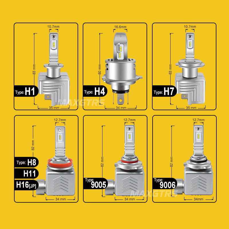 MAXGTRS Car LED Headlight Bulbs All in One H1 H3 H7 H11 H8 9005 HB3 9006 HB4 60W 12000LM H4 High Low Beam Lights 6000K 12V