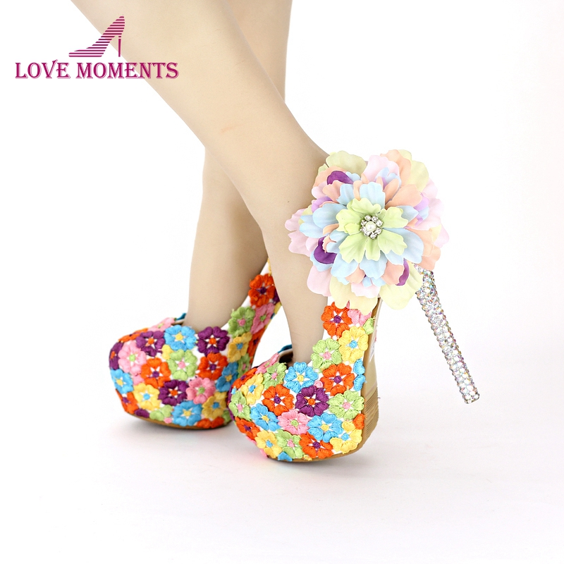 Colorful Lace Floral High Heels Beautiful Formal Dress Shoes Thin Heel Wedding Bridal Shoes Appliqued Dinner Party Prom Pumps cinderella high heels crystal wedding shoes 14cm thin heel rhinestone bridal shoes round toe formal occasion prom shoes